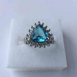 Stamped925(sterling silver)3 CARAT Sapphire size 5